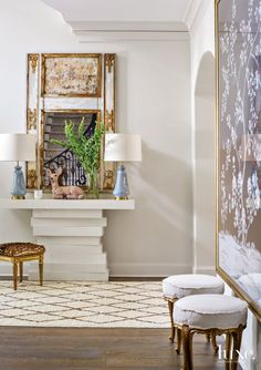 Transitional Cream Foyer with Deer Print Stool