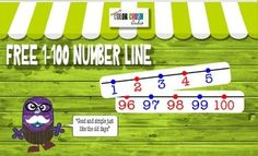 FREE !! Printable 1-100 Number Line.  A simple number line to display in the classroom or use with number sense math lessons.