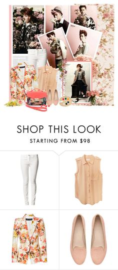 """""""exo pink . ."""" by nettanetto ❤ liked on Polyvore featuring Rituals, Equipment, Zara, Witchery, floral, Pink, peach, blazer and EXO"""