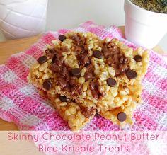 Skinny Chocolate Peanut Butter Rice Krispie Treats for Two | www.pinkrecipebox.com