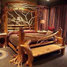 Idea for my dads log bed.the bench. Bedroom furniture made from driftwood Driftwood Furniture, Log Furniture, Furniture Making, Bedroom Furniture, Furniture Ideas, Driftwood Art, Garden Furniture, System Furniture, Outdoor Furniture