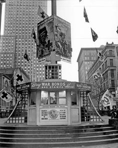 WW II war bond sales booth on Fountain Square, 1940s.