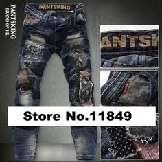 59.99$  Buy here - http://alia9n.worldwells.pw/go.php?t=1748929644 - Hot Men's Ripped Jeans Pant, Holes Applique Patch Distrressed Leisure Denim Pants Trousers Fashion Slim Straight Designer Jeans