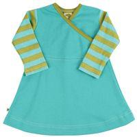 long sleeve jumper dress - turquoise w/kiwi stripes JOSEPHINE