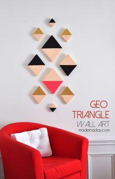 Modern Triangle Geo Wall Art, foam discs cut into triangles, Aztec wall art, black and gold, Geometric wall art, DIY foam cutter #MakeitFunCrafts Easy craft
