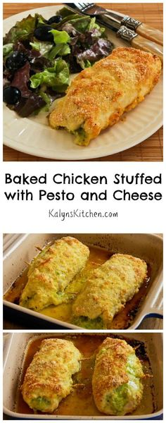 Baked Chicken Stuffed with Pesto and Cheese is one of the most popular recipes on my blog; perfect for dinner guests you