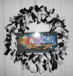 "20"" NASCAR RACING CHECKERED FLAG BLACK WHITE DOOR WALL RAG SCRAP WREATH"