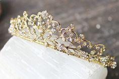 Something Blue Bridal Tiara Swarovski Crystal Bridal Crown Bridal Crown, Bridal Tiara, Bridal Jewelry, Wedding Hairstyles With Crown, Bridal Hairstyles, Something Blue Bridal, Gold Tiara, Tiaras And Crowns, Bridal Hair