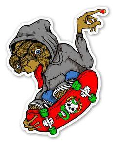 ET Skater pegatina Graffiti Designs, Graffiti Art, Cool Stickers, Custom Stickers, Skate Tattoo, Arte Punk, Collage Background, E Mc2, Tattoo Illustration