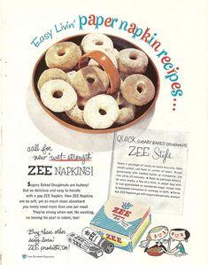 1950s Zee Napkins ad with doughnut recipe by CapricornOneVintage, via Flickr