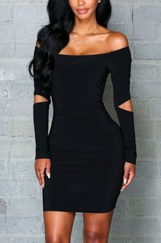 Women's Long-Hollow-Sleeves Sexy Tight Dress