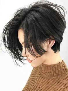 Center Parting Straight Short Bob Lace Front Human Hair Wig - Coiffure Sites Cool Short Hairstyles, Wig Hairstyles, Black Hairstyles, Korean Short Hairstyle, Hairstyles 2016, Tomboy Hairstyles, Latest Hairstyles, Short Human Hair Wigs, Short Hair Cuts
