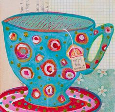 Whimsical Blue Polka Dotted Mug Mixed Media by LauraGaffke on Etsy