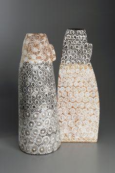Petra Bittl Ceramics, pair of vessels, stoneware clays, porcelain, 2015
