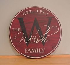 Family Name Sign - Personalized Monogram Sign Established Date Sign Painted Round Wood Sign Wedding Anniversary Gift Est. Date Custom Gift by Cilene Bretas