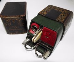 SUPERB RARE ENGLISH ANTIQUE VICTORIAN 1851 SOLID SILVER LADIES ETUI SEWING SET   numerous compartments containing genuine antique sewing tools, some being sterling silver. Includes the original note page with hand written initials and year date 1851.  Measurements The case measures 3.9 inches (98mm) x 2.45 inches (60mm) and is 1.95 inches (47mm) deep. £163.45