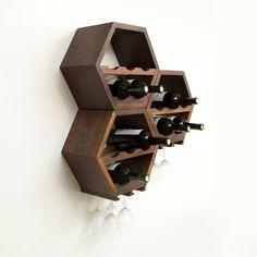 Honeycomb Wine Rack MidCentury Modern Decor Hexagon Wine