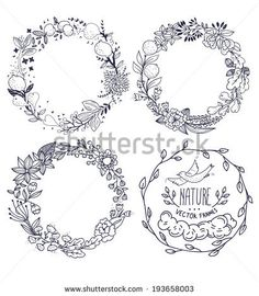 vector set of hand drawn floral wreathes