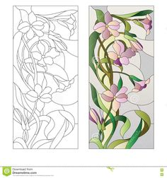 Illustration about Stained glass window with purple floral pattern. Illustration of ornament, decorative, nature - 73189047 Glass Painting Patterns, Painting On Glass Windows, Stained Glass Patterns Free, Glass Painting Designs, Stained Glass Quilt, Stained Glass Flowers, Faux Stained Glass, Stained Glass Designs, Stained Glass Panels