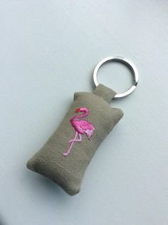 Flamingo keyring from Taylor and Morris at etsy! Pink Flamingos, Cushion, Embroidery, Stitch, Personalized Items, Pillows, Knitting, Create, Crochet