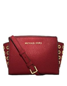 a757e5a93f9c Michael Kors Women s Selma Grommet Red Mini Messenger Crossbody Handbag.  For Books