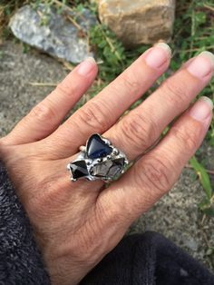 Shungite and Spinel Molten Metal Sterling Silver Ring by PixieStixDesigns on Etsy