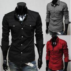 Men's Fashion Designer Military Slim Dress Shirts Tops Western S M L XL