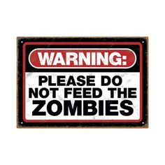 Zombie Warning Tin Sign >>> More info could be found at the image url.Note:It is affiliate link to Amazon.