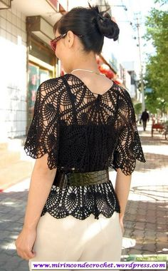 Fabulous Crochet a Little Black Crochet Dress Ideas. Georgeous Crochet a Little Black Crochet Dress Ideas. Crochet Shirt, Crochet Cardigan, Diy Crochet, Crochet Top, Crochet Summer Tops, Black Crochet Dress, Pineapple Crochet, Crochet Woman, Blouse And Skirt