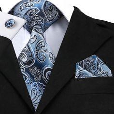 New Classic Silk Ties Mens Tie Sets Blue Wedding Hanky Cufflinks Tie Set Formal Casual Mens, Formal Wear, Beard Suit, Purple Weave, Silk Handkerchief, Man Weave, Paisley Tie, Cufflink Set