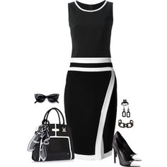 A fashion look from April 2015 featuring no sleeve tops, straight pencil skirt and leather upper shoes. Browse and shop related looks. Diva Fashion, Work Fashion, Cute Fashion, Womens Fashion, Classy Outfits, Chic Outfits, Dress Outfits, Fashion Outfits, White Dress Outfit