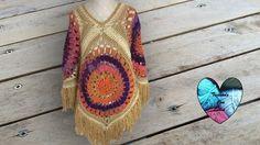 Poncho Tejido a Crochet facil paso a paso - Crochet Dollies Lidia Crochet Tricot, Poncho Crochet, Crochet Jacket, Crochet Pillow Patterns Free, Crochet Flower Patterns, Free Cliparts, Mundo Hippie, Crochet Simple, Crochet Flower Tutorial