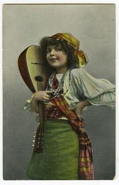 Circa 1908 Antique Children Cute Little GYPSY w/ MANDOLIN litho photo postcard - RPPC / Vintage cute girl / Do you know the name of this mysterious unknown child ? PLEASE TELL ME !!...Vintage postcard ca 1910 of my favorite model / This child is such a mystery!!!. She was often a model for the German photographer Henry ( Heinrich) Traut / Carte postales anciennes enfants - CPA fantaisie enfant - jeune fille.
