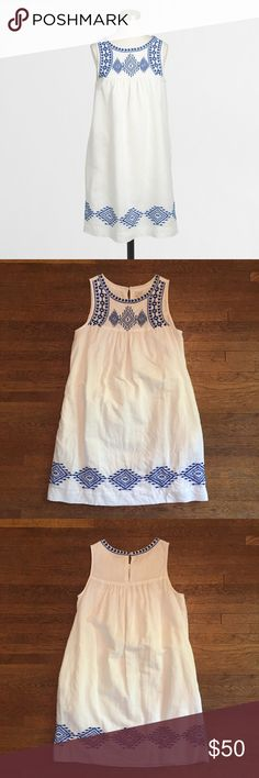 J. Crew Factory Linen Embroidered Dress Blue embroidery and white linen are a perfect combo! Will steam before sending! Comment with questions, I love offers! Length of dress from top of shoulder to bottom hem: 33.75 inches. ******** It is a 0 but fits like a 4!!!!!!!****** J. Crew Dresses
