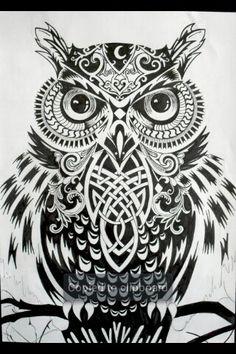 A beautiful bohemian designed owl