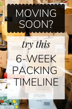 Tips and tricks for moving - tips for packing, prepping, and making a moving timeline.
