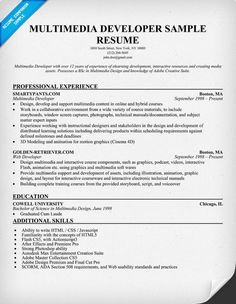 images about resume samples across all industries on    multimedia developer resume sample  resumecompanion com