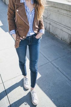 moto jacket, skinny jeans and sneakers