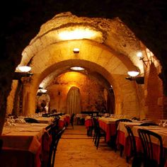 Restaurant in Rome over the ruins of the Theatre of Pompey (the site of Julius Caesar's murder).