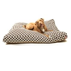 Large Rectangle Pet Bed Chocolate Bamboo | Majestic Pet