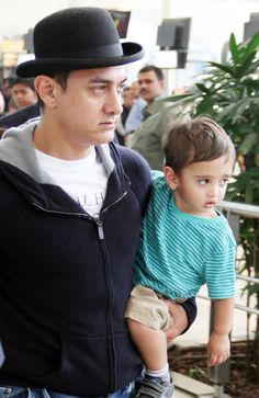 Aamir Khan maintained his Dhoom: 3 look while taking a walk with son Azad. #Bollywood #Fashion #Style
