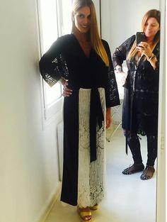 Giota Hadjilouka wearing a black & white lace dress by Elena Chalati