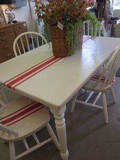 Table/4 chairs in old ochre with emperor's silk stripe winsome cottage