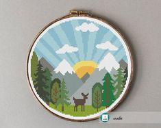 Mountain sunrise cross stitch pattern, modern cross stitch pattern, PDF, instant download