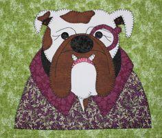 Bulldog applique wall hanging.  Dog quilt.