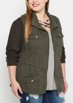 Sporty but still, oh-so-stylish, this twill anorak is a fashion favorite. Made with sturdy twill, it's outfitted with marled knit sleeves to stand out from the crowd. Zip down front. Snap button flap pockets.