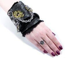 Steampunk Cuff Wrist Cuff Black LEATHER Transfers Chain Keys Skull Rose Heart Gears Wedding Bridal Cuff Steampunk Clothing by edmdesigns. $155.00, via Etsy.