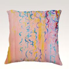 COTTON CANDY WHISPERS Fine Art Velveteen Throw Pillow Decorative Home Decor Colorful Fine Art Toss Cushion, Modern Bedroom Bedding Dorm Room Living Room Style Accessories by EbiEmporium, $75.00