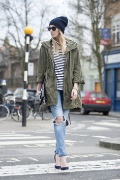 parka jacket and striped shirt outfit