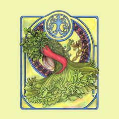 Art nouveau. Spices and vegetables Watercolor